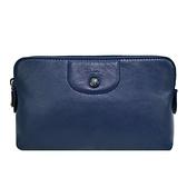 【南紡購物中心】LONGCHAMP LE PLIAGE CUIR系列小羊皮手拿/化妝包(海軍藍)