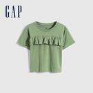 Gap女幼童 純棉荷葉邊蝙蝠袖T恤 689390-綠色