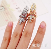 皇冠十字架指甲戒指女歐美時尚美甲飾品套個性鑲鉆指環假指甲蓋 FF1611【衣好月圓】