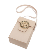 Petite Jolie  經典徽章掀蓋相機包-粉膚色