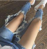 棉視韓版高腰膝蓋爛大破洞牛仔褲