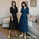 連身裙 夏季2020新款復古長袖裙子高腰赫本風v領裙女收腰顯瘦法式洋裝