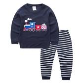 男baby男童裝長袖套裝藍色火車男童純棉套裝現貨 歐美品質