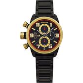 elegantsis Army ELJF48JKS 三眼計時腕錶-IP黑x金時標/43mm ELJF48JKS-OB01MA