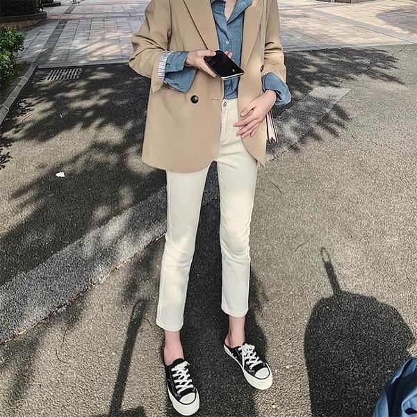 高腰直筒牛仔褲女2020年秋裝新款小個子八分顯瘦白色九分煙管褲子 雙十二全館免運