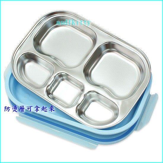 asdfkitty可愛家☆POLI救援小英雄 波力樂扣型防燙有蓋不鏽鋼餐盤便當盒-附外出袋-韓國製