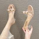 高跟拖鞋 港風2021新款夏季網紅涼拖鞋女細跟外穿一字拖高跟鞋子ins潮百搭