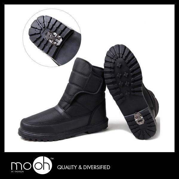 防水雪靴 歐美大尺碼保暖雪釦防滑男款中筒雪靴