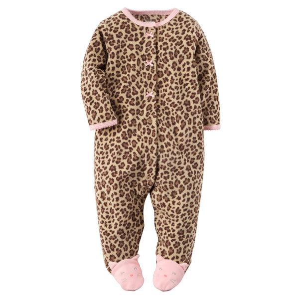 【美國Carter's】長袖包腳保暖連身衣 - 粉紅豹紋系列 115G027