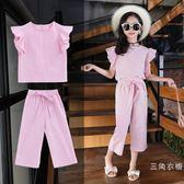 套裝兒童夏裝套裝2019新款韓版時尚條紋童裝女大童洋氣飛邊袖套裝潮