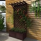 防腐木網格帶花盆戶外庭院隔斷花槽花箱碳化柵欄攀爬藤陽台花架子 小山好物