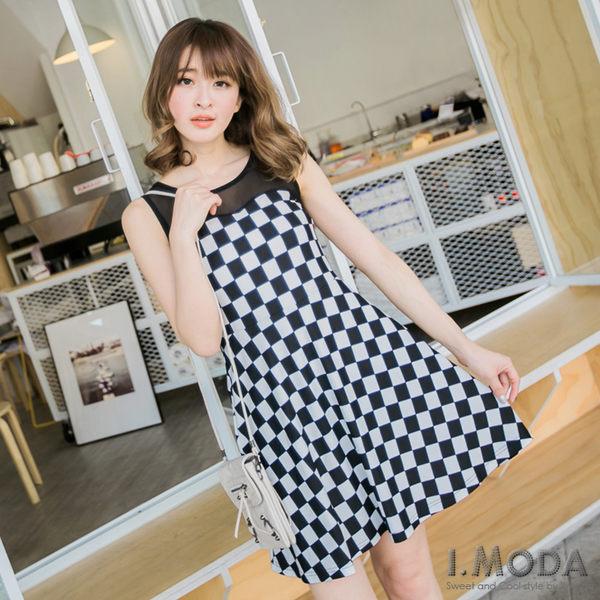 OB嚴選《DA2365-》復古俏麗~透膚網紗拼接黑白格修身無袖洋裝.2色--適 S~L