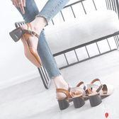 時尚涼鞋女夏復古鞋女學生百搭粗跟一字扣中跟單鞋