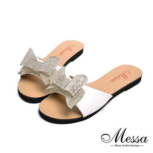 【Messa米莎專櫃女鞋】MIT閃亮蝴蝶一字寬帶平底拖鞋-白色