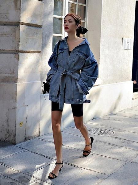 克妹Ke-Mei【AT63833】韓國定制!名媛時髦復古腰帶寬鬆立領牛仔外套