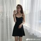 春夏新款韓版V領小個子吊帶洋裝夜店性感打底赫本a字小黑裙 檸檬衣舍