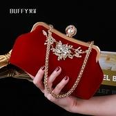 手拿包 2021新款結婚手包女婚禮新娘手拿包紅色手提包配禮服包包旗袍小包 伊蘿 99免運
