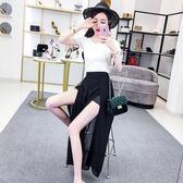 小香風俏皮套裝女兩件套夏季韓版短袖針織衫 高腰開叉雪紡闊腿褲