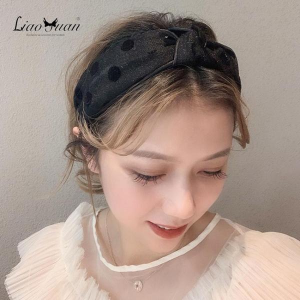 髮帶 網紅甜美寬邊發卡發箍女少女簡約波點頭箍清新網紗發帶頭飾品 莎瓦迪卡