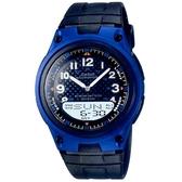 【CASIO】10年電力商務型男膠帶雙顯錶-藍框(AW-80-2B)