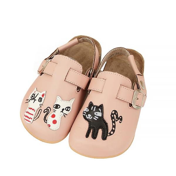 【Jingle】貓咪俱樂部前包後空軟木休閒鞋(甜美粉兒童款)