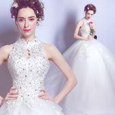 婚紗禮服 天使嫁衣蕾絲釘珠中式立領露背公主新娘齊地婚紗禮服2517T