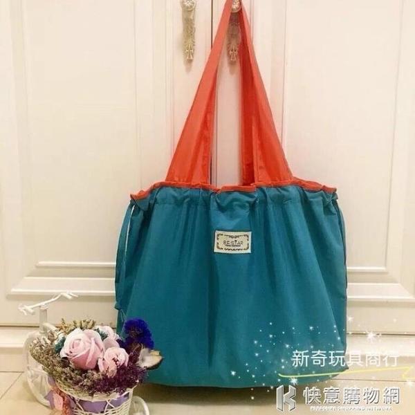 環保袋女 便攜尼龍布可折疊束口購物袋韓版單肩束口環保袋時尚 快意購物網