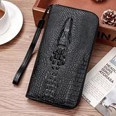 鱷魚紋錢包男士青年長款多卡位大容量手拿包手機包錢夾票夾拉鏈包『潮流世家』
