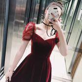禮服 子晴派對宴會晚洋裝小禮服裙瘦紅色公主露背絲絨連身裙女 愛丫愛丫 JD