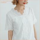 棉麻衫 氣質V領蕾絲邊棉麻衫 單色-小C館日系