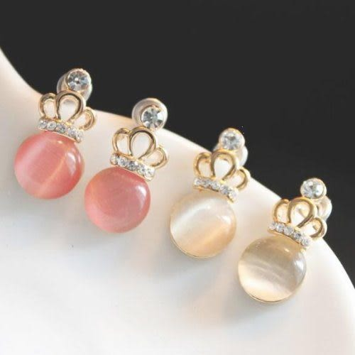 韓系皇冠珍珠耳環(3色)  情人節禮物【Vogues唯格思】B014