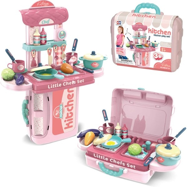 3 in 1 Kitchen Play Set 餐具手提組 粉色 TOYeGO 玩具e哥