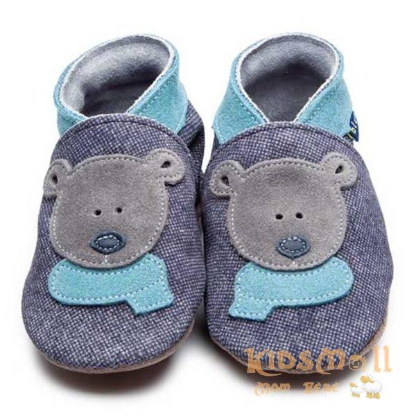 英國製Inch Blue,真皮手工學步鞋禮盒,Bertie Bear-Dark Denim