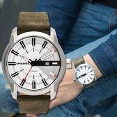 DIESEL 軍綠質感皮革腕錶 DZ1781 熱賣中!