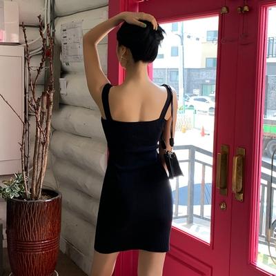 OL洋裝S-XL8692#韓版夏裝新款性感方領無袖針織連身裙女包臀短裙H538紅粉佳人