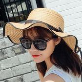 韓國女夏季沙灘防曬太陽海邊度假大檐沙灘帽mj900【VIKI菈菈】