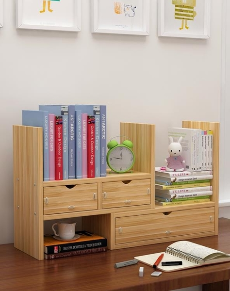 書架學生桌面收納小架子書柜兒童辦公桌上創意伸縮簡易置物架書桌ATF 青木鋪子