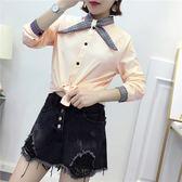 新款OL上班面試格子領結雪紡長袖襯衫上衣 (白  米黃  粉) 三色售 11812055