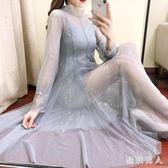 新款洋裝 超仙溫柔裙洋氣女神范網紗洋裝2019早春季網紅長裙吊帶兩件套裝 ZJ4840【極致男人】