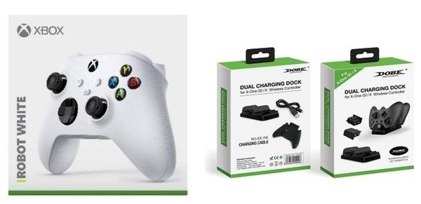 [哈GAME族]免運費 可刷卡 XBOX Series 無線控制器 手把 冰川白 + DOBE TYX-532X Xbox Series 手把雙座充