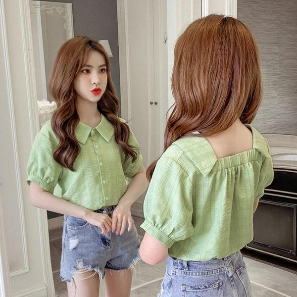 短袖襯衫 2021夏季新款韓版百搭甜美仙氣洋氣上衣顯瘦短袖襯衫上衣女潮 韓國時尚週