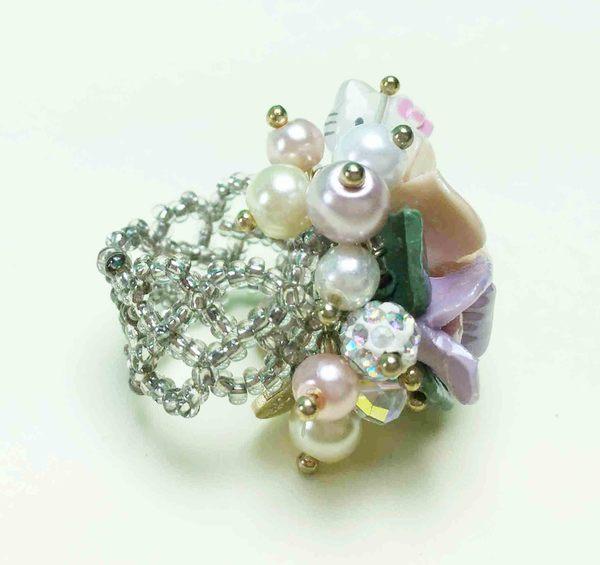 【震撼精品百貨】Hello Kitty 凱蒂貓~戒指-三色堇L