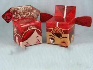 (免費摺喜糖盒)超可愛格格卡通娃娃喜糖盒,婚禮小物/50份(2個一份)