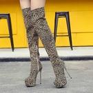 膝上靴 秋冬季歐美爆款 超高跟細跟防水臺豹紋過膝性感夜店長靴女
