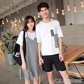 情侶裝夏裝新款韓版格子假兩件連身裙女百搭學生短袖T恤衫潮     潮流前線