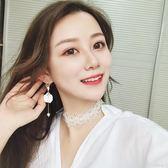 耳環女氣質韓國個性百搭長款簡約耳墜純銀吊墜超仙耳釘潮『小淇嚴選』