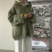 保暖外套女-秋裝韓版新款寬鬆百搭BF風連帽拉鏈超火網紅長袖針織外套女裝 喵喵物語