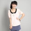 短袖   台灣製跳色領片圓領短袖上衣棉T-獨具衣格中大尺碼