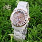 【萬年鐘錶】 Vivienne Westwood  英國 時尚精品星球晶鑽陶瓷錶  白x玫瑰金 32mm   VV088SRSWH