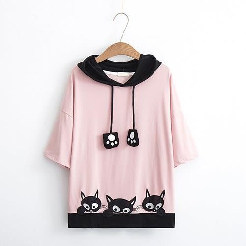 卡通貓咪刺繡純棉連帽衫